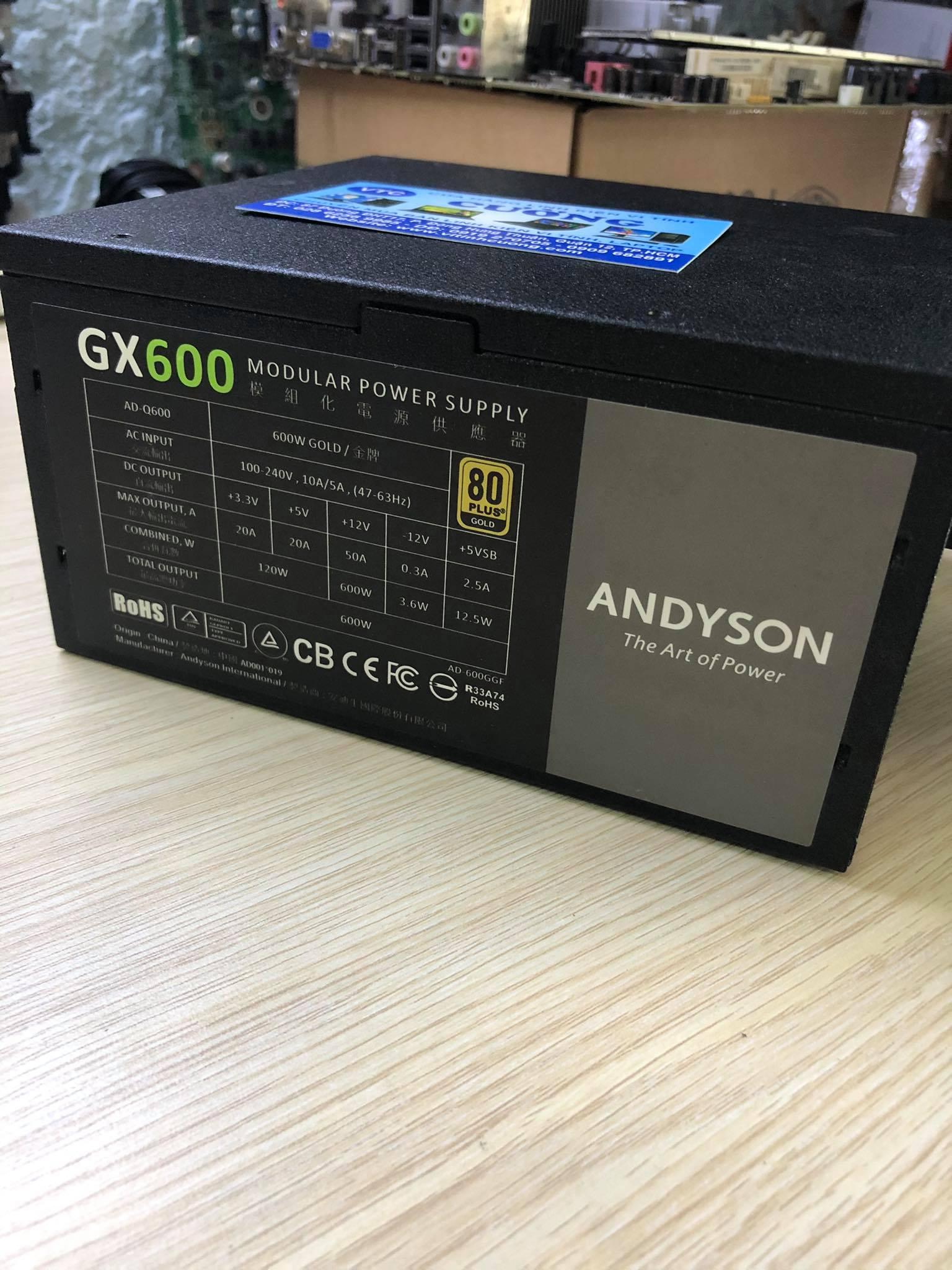 Nguồn Andyson GX600 600W All Japan Caps – 80 Plus Gold Bh6/2021