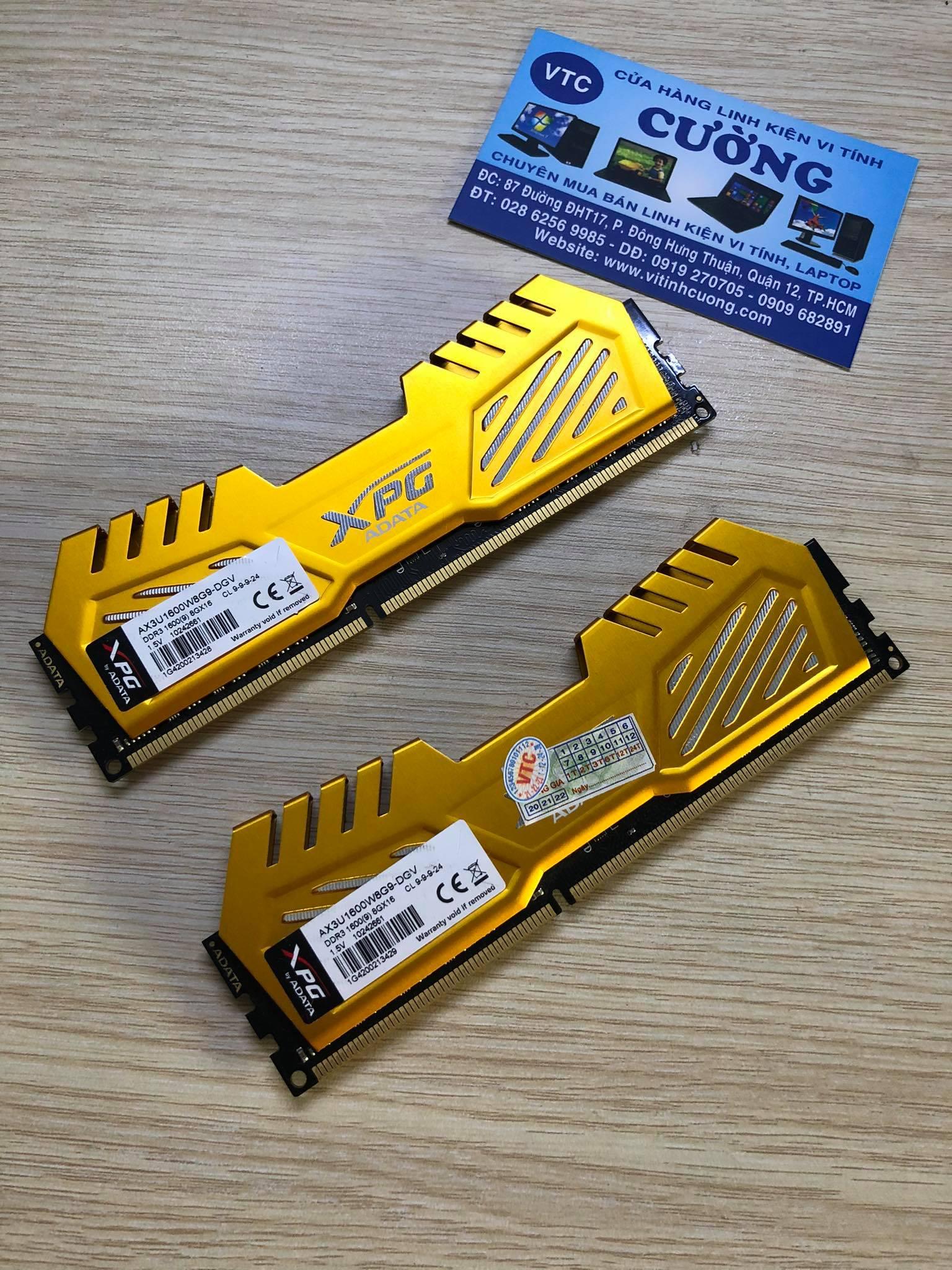RAM DDR3 8Gb buss 1600 ADATA TẢN NHIỆT VÀNG